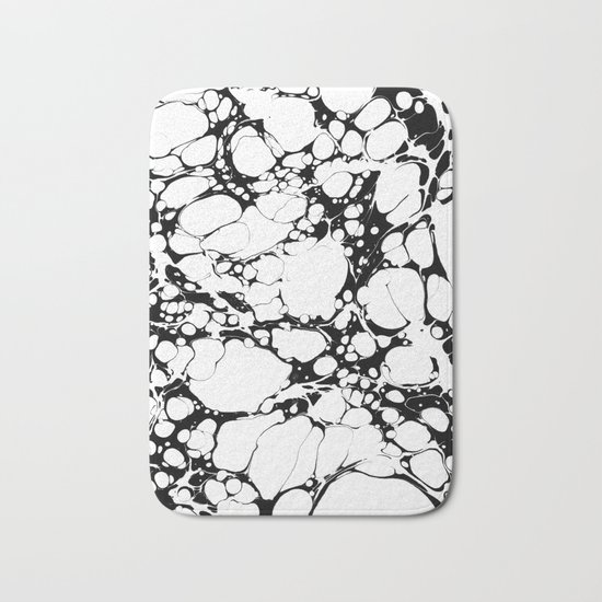 Black and White bubbles Spilled Ink Marbled Paper Bath Mat
