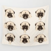 evil Wall Tapestries featuring No Evil Pug  by Huebucket