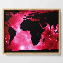 World Map : Red Hot Pink Galaxy Serving Tray