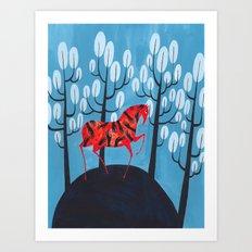 Smug red horse Art Print