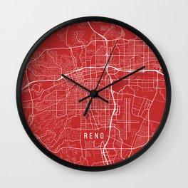 Reno Map, USA - Red Wall Clock