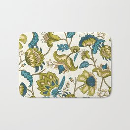 Green and Blue Indian Floral Bath Mat