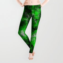 Emerald Blast - Abstract Black And Green Painting Leggings