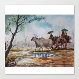 Back to home from work on rainy day - in Watercolor Canvas Print