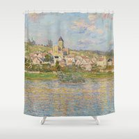 monet Shower Curtains featuring Vetheuil by Claude Monet by Palazzo Art Gallery