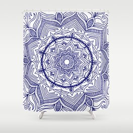Blue Flower Mandala Shower Curtain