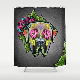 Mastiff in Fawn - Day of the Dead Sugar Skull Dog Shower Curtain