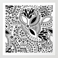 Black and white polka dot pattern . Art Print