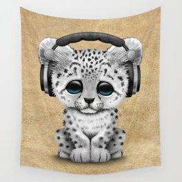 Cute Snow leopard Cub Dj Wearing Headphones Wall Tapestry