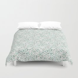 Green Leaves and Red Berries. Duvet Cover