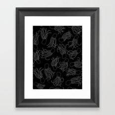 Squids (Grey on Black) Framed Art Print