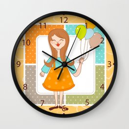 Adorable Cute Girl and Her Balloons Wall Clock