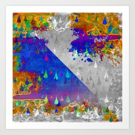 Abstract Colorful Rain Drops Design Art Print