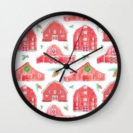 Watercolor Snowy Red Holiday Barns Wall Clock