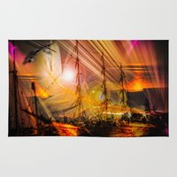 ships Area & Throw Rugs featuring Sailing ships sunset by Walter Zettl