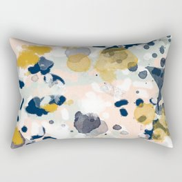 Noel - navy mint gold painted abstract brushstrokes minimal modern canvas art painting Rectangular Pillow