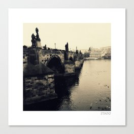 Waterside View of St. Charles Bridge Prague Canvas Print