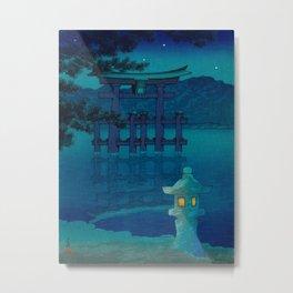 Japanese Woodblock print Torii In The Lake During Night Blue Monochromatic Metal Print