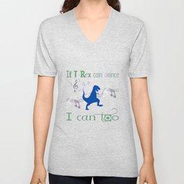 If T-Rex Can Dance-Blue Unisex V-Neck