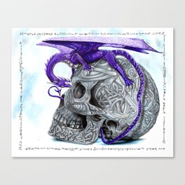Secret's untolds- purple dragon on celtic skull Canvas Print