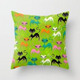 Prancing Kittens on Lime Throw Pillow