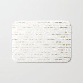 Modern Gold Polka Dot Stripes Bath Mat