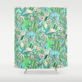 Improbable Botanical with Dinosaurs - soft pastels Shower Curtain