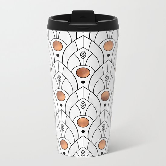 Art Deco Leaves / Version 2 Metal Travel Mug