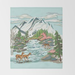 Paint by Number Mountain Medow Throw Blanket