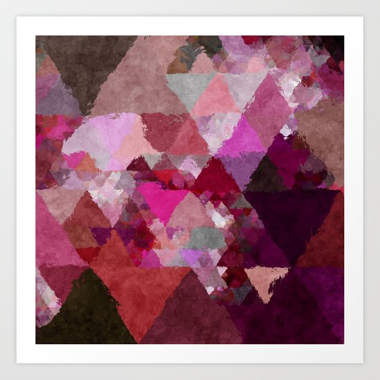 When the night comes- Dark red purple triangle pattern- Watercolor Illustration Art Print