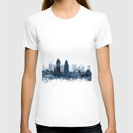 Cincinnati Skyline Blue Watercolor by Zouzounio Art T-shirt