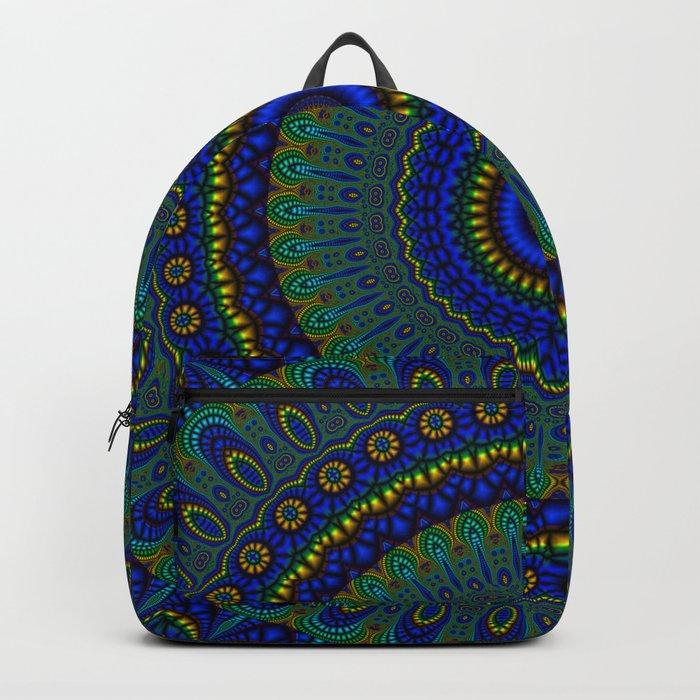 blue yellow mandala Backpack
