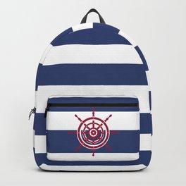 AFE Nautical Red Helm Wheel Backpack