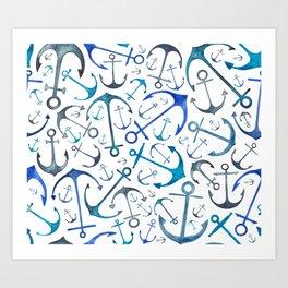 Nautical Watercolour Anchors Kunstdrucke