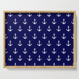Maritime Nautical Blue and White Anchor Pattern Serving Tray