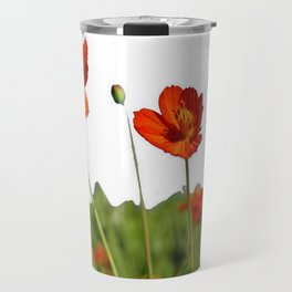 Red Cosmos Flower In A Meadow Isolated on White Travel Mug