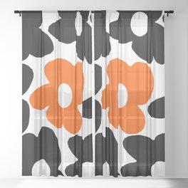 Large Orange and Black Retro Flowers White Background #decor #society6 #buyart Sheer Curtain