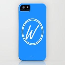 Monogram - Letter W on Dodger Blue Background iPhone Case