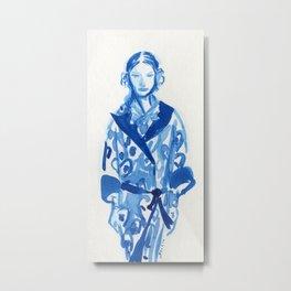 Samurai casual -blue ink woman fashion illustration Metal Print
