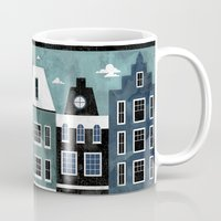 travel poster Mugs featuring Amsterdam Travel Poster by ClaireIllustrations