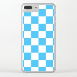 Cheerful Blue Checkerboard Pattern Clear iPhone Case
