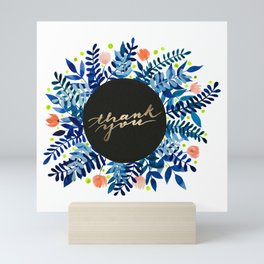 Thank you flowers and branches - blue and orange Mini Art Print
