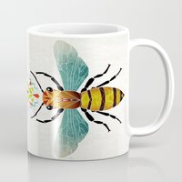 bee Mugs featuring bee by Manoou