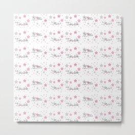 Twinkle Little Star Pink Baby Girl Nursery Metal Print