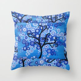 blue sea, tree of life - shades of blue with bubble leaves Throw Pillow