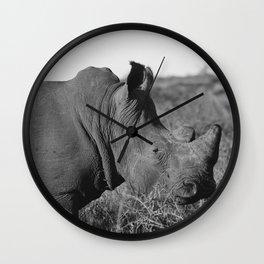 South African Rhino - B&W Wall Clock