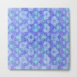 Lotus flower - pool blue woodblock print style pattern Metal Print