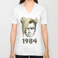 1984 V-neck T-shirts featuring 1984 by Eric Fan