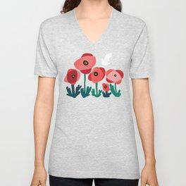 Poppy flowers and bird Unisex V-Neck