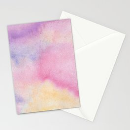 Abstract artistic hand painted pink lavender watercolor Stationery Cards